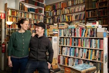 Amy & Julian in the bookshop